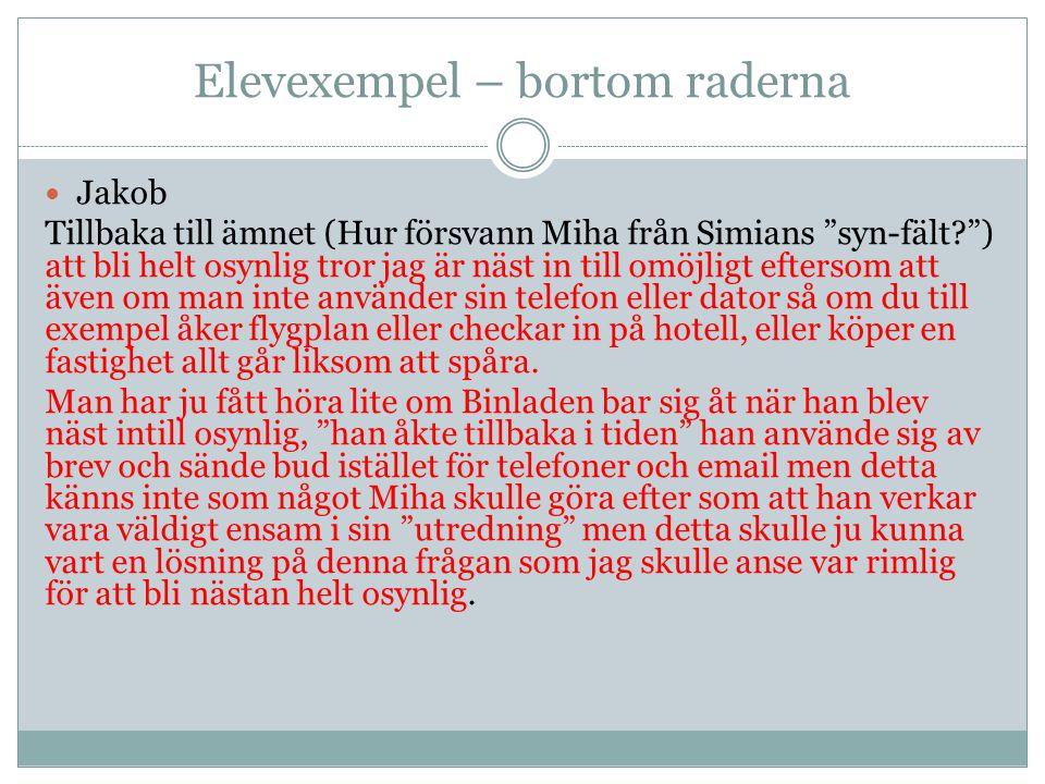 Koppling till Svenska 1 Centralt innehåll Skriftlig framställning av texter för kommunikation, lärande och reflektion.