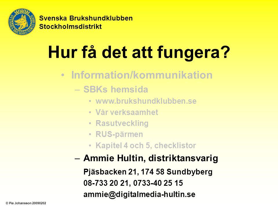 Svenska Brukshundklubben Stockholmsdistrikt Hur få det att fungera? Information/kommunikation –SBKs hemsida www.brukshundklubben.se Vår verksaamhet Ra