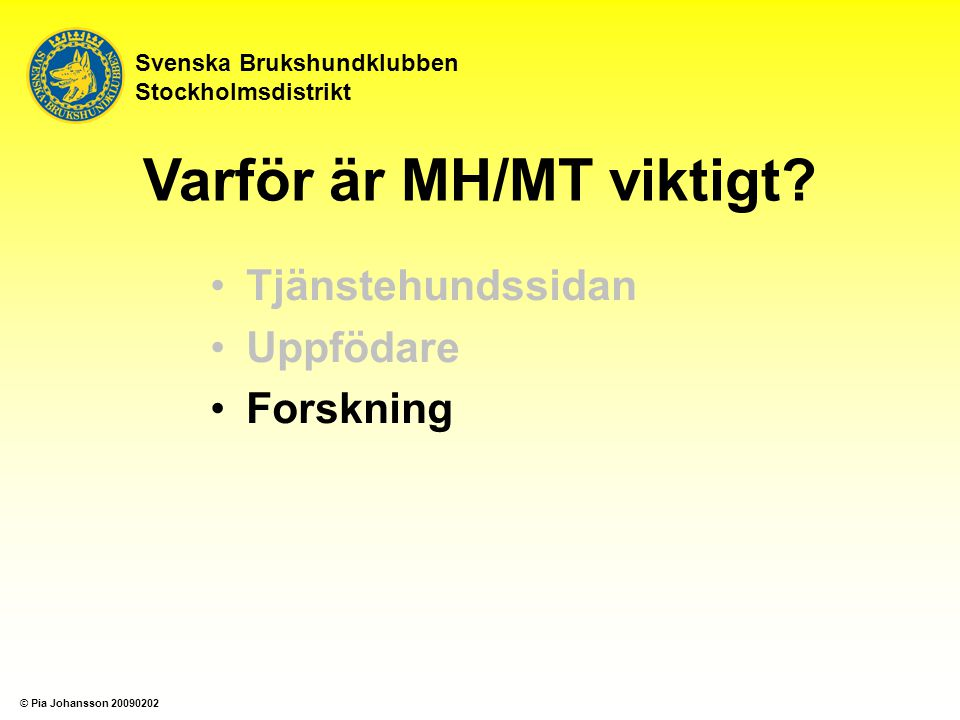 Tjänstehundssidan Uppfödare Forskning Svenska Brukshundklubben Stockholmsdistrikt Varför är MH/MT viktigt? © Pia Johansson 20090202