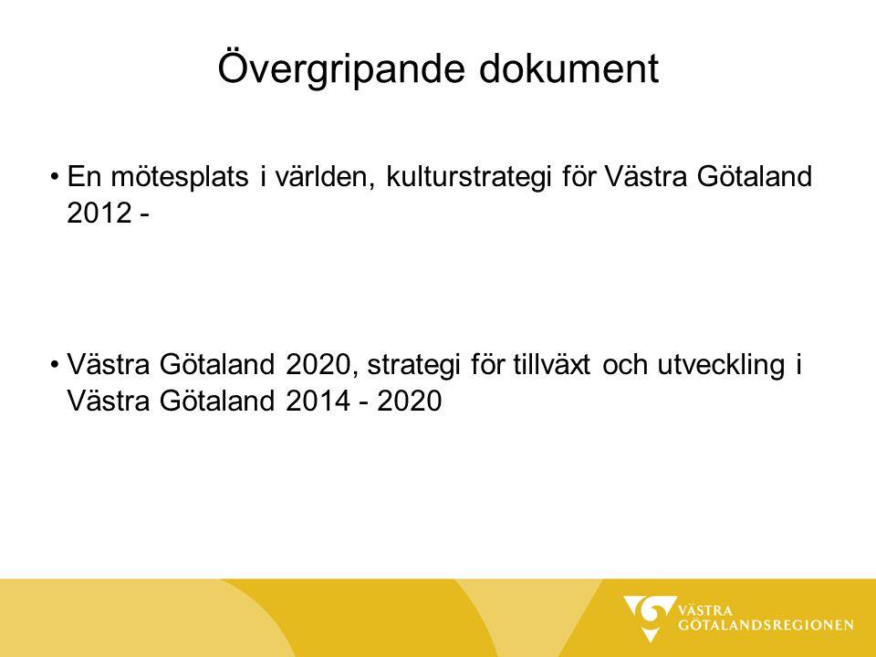 Övergripande dokument En mötesplats i världen, kulturstrategi för Västra Götaland 2012 - Västra Götaland 2020, strategi för tillväxt och utveckling i Västra Götaland 2014 - 2020