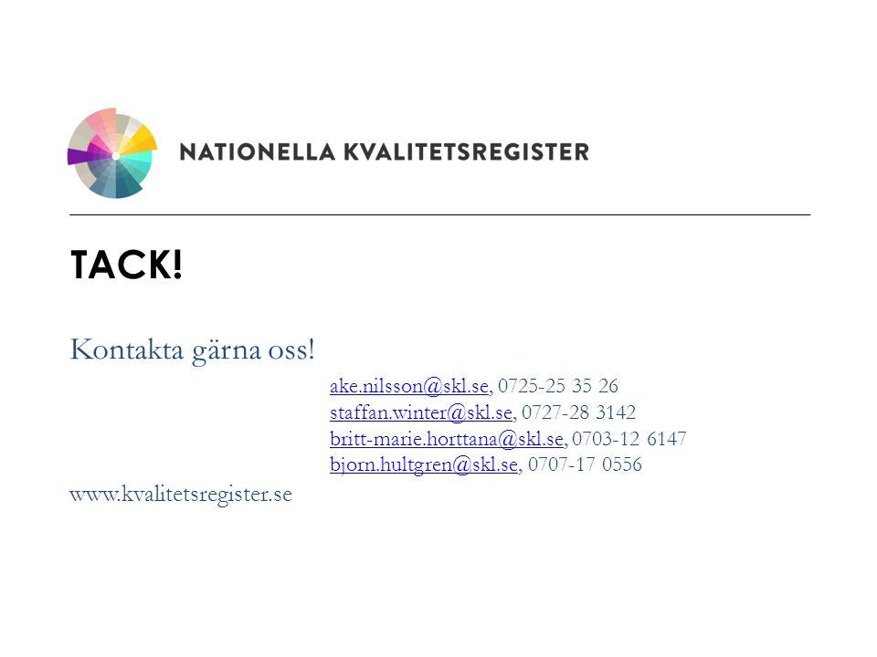 www.kvalitetsregister.se TACK! Kontakta gärna oss! ake.nilsson@skl.seake.nilsson@skl.se, 0725-25 35 26 staffan.winter@skl.sestaffan.winter@skl.se, 072