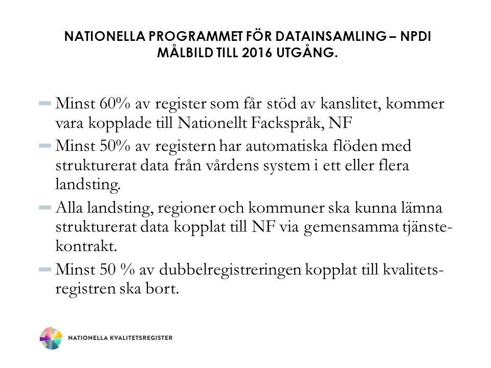 NATIONELLA PROGRAMMET FÖR DATAINSAMLING – NPDI MÅLBILD TILL 2016 UTGÅNG. Minst 60% av register som får stöd av kanslitet, kommer vara kopplade till Na