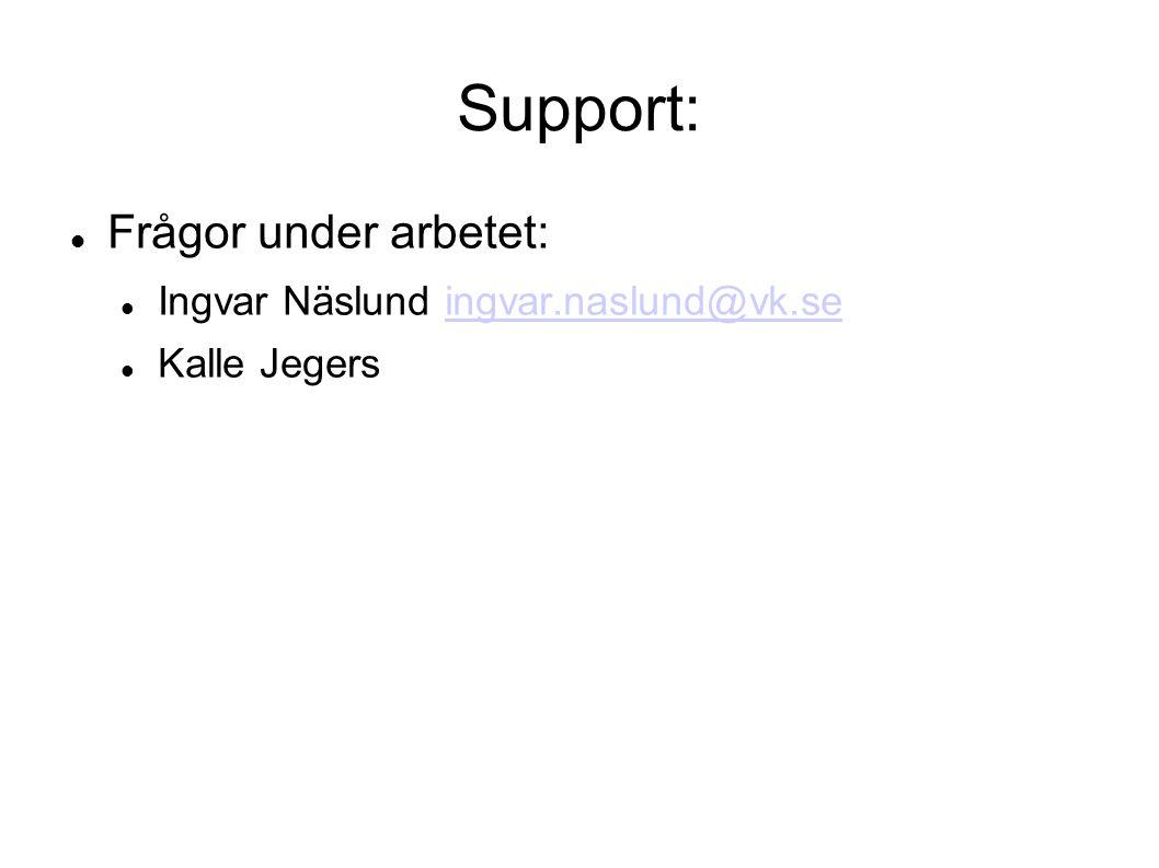 Support: Frågor under arbetet: Ingvar Näslund ingvar.naslund@vk.seingvar.naslund@vk.se Kalle Jegers