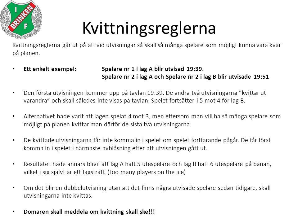 Kvittningsreglerna Kvittningsreglerna går ut på att vid utvisningar så skall så många spelare som möjligt kunna vara kvar på planen. Ett enkelt exempe