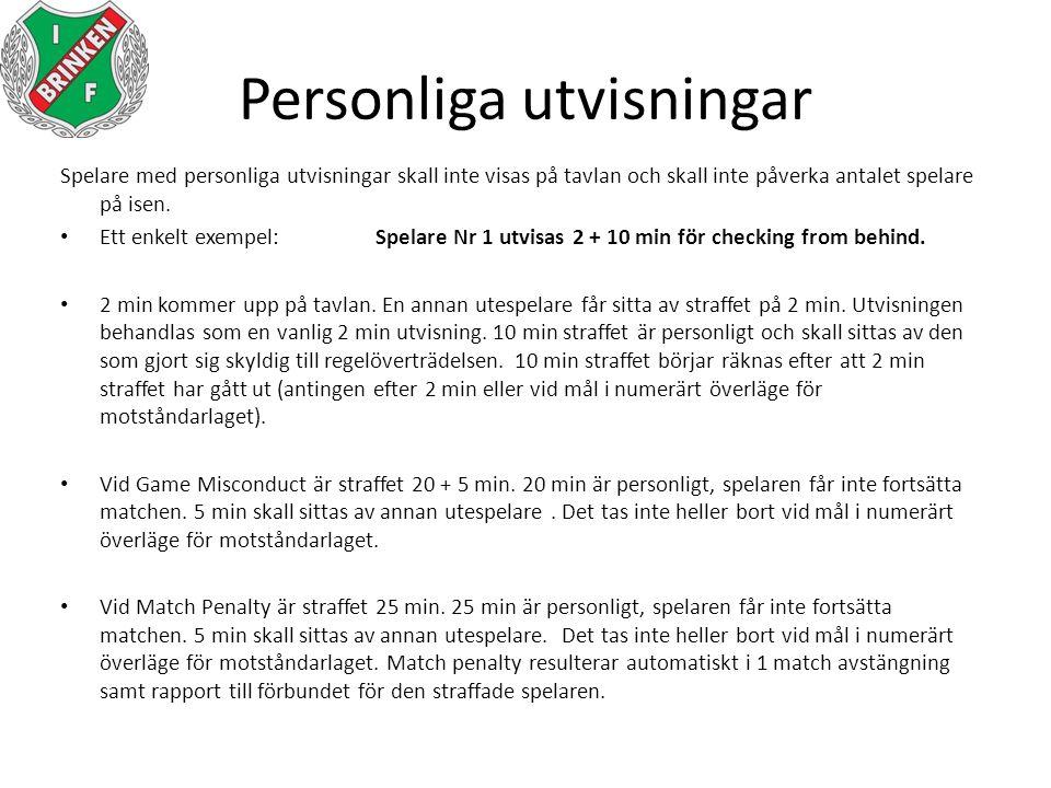Personliga utvisningar Spelare med personliga utvisningar skall inte visas på tavlan och skall inte påverka antalet spelare på isen. Ett enkelt exempe