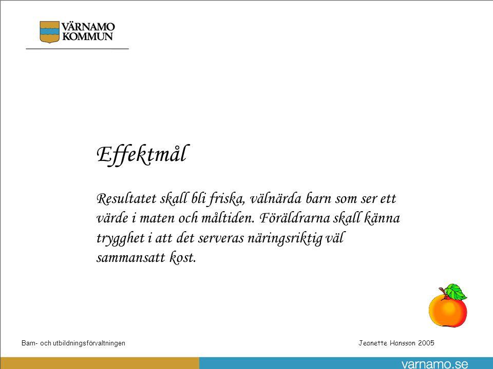 Barn- och utbildningsförvaltningenPatrik Gustafsson Utbyggnad steg 1 av skolnätet Jeanette Hansson 2005 Effektmål Resultatet skall bli friska, välnärd