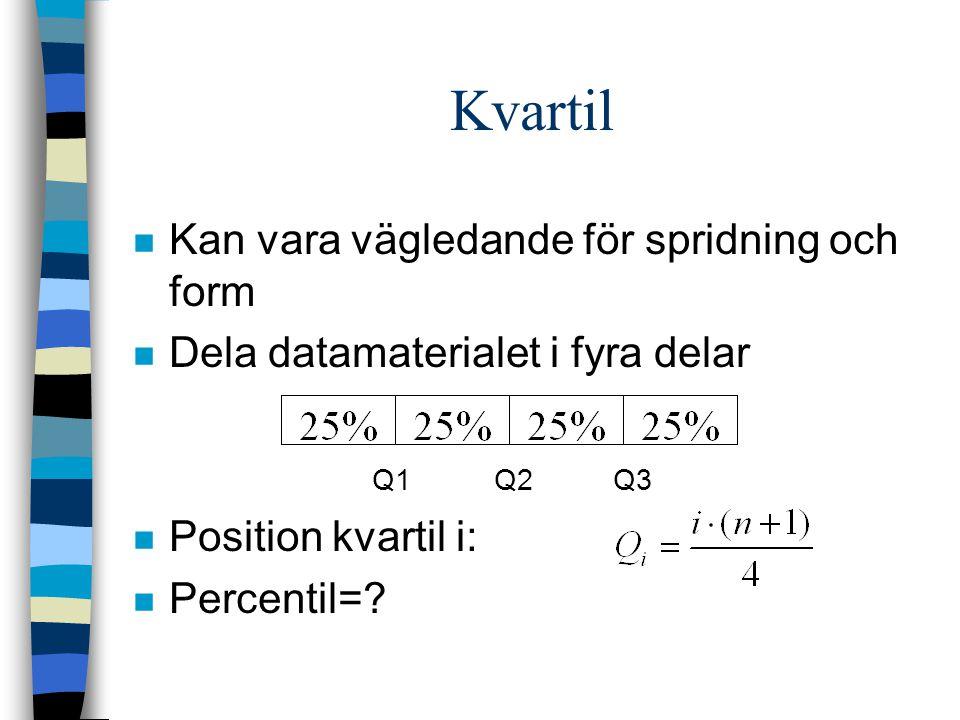 Kvartil n Kan vara vägledande för spridning och form n Dela datamaterialet i fyra delar Q1 Q2Q3 n Position kvartil i: n Percentil=?