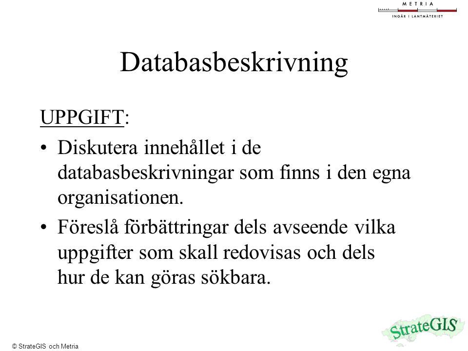 Databasbeskrivning UPPGIFT: Diskutera innehållet i de databasbeskrivningar som finns i den egna organisationen.