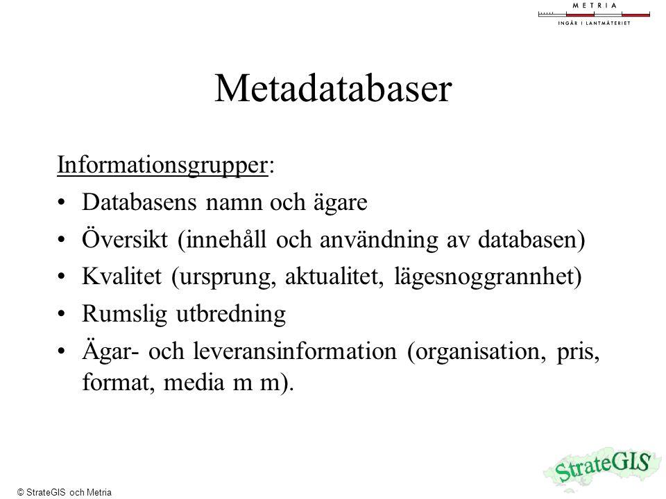 Metadatabaser Informationsgrupper: Databasens namn och ägare Översikt (innehåll och användning av databasen) Kvalitet (ursprung, aktualitet, lägesnoggrannhet) Rumslig utbredning Ägar- och leveransinformation (organisation, pris, format, media m m).