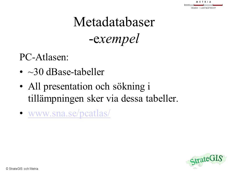 Metadatabaser -exempel PC-Atlasen: ~30 dBase-tabeller All presentation och sökning i tillämpningen sker via dessa tabeller.