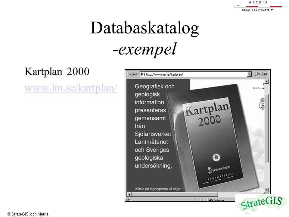Databaskatalog -exempel Kartplan 2000 www.lm.se/kartplan/ © StrateGIS och Metria