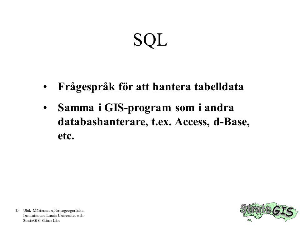 SQL Frågespråk för att hantera tabelldata Samma i GIS-program som i andra databashanterare, t.ex.