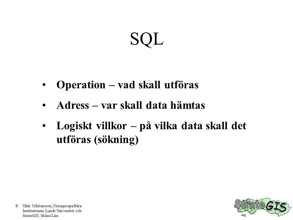 SQL Operation – vad skall utföras Adress – var skall data hämtas Logiskt villkor – på vilka data skall det utföras (sökning) ©Ulrik Mårtensson, Naturgeografiska Institutionen, Lunds Universitet och StrateGIS, Skåne Län