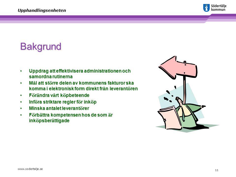 www.sodertalje.se 11 Upphandlingsenheten Bakgrund Uppdrag att effektivisera administrationen och samordna rutinernaUppdrag att effektivisera administr