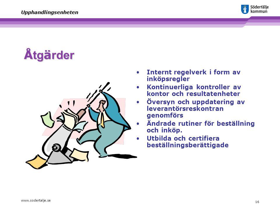 www.sodertalje.se 16 Upphandlingsenheten Å tg ä rder Internt regelverk i form av inköpsregler Kontinuerliga kontroller av kontor och resultatenheter Ö