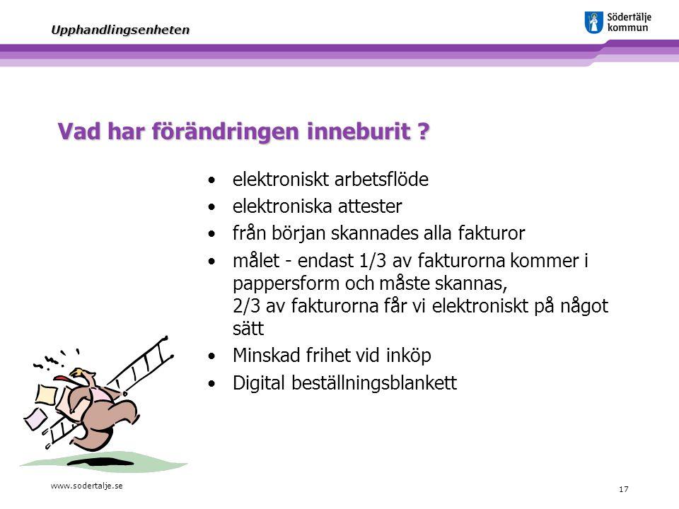 www.sodertalje.se 17 Upphandlingsenheten Vad har förändringen inneburit ? elektroniskt arbetsflöde elektroniska attester från början skannades alla fa
