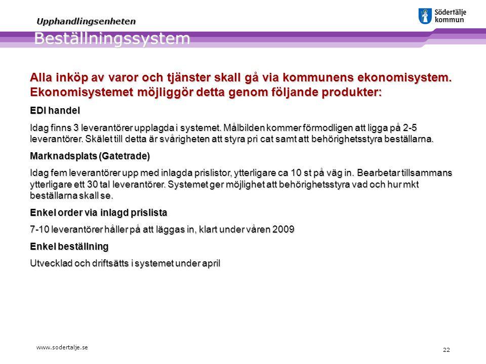 www.sodertalje.se 22 Upphandlingsenheten Beställningssystem Alla inköp av varor och tjänster skall gå via kommunens ekonomisystem. Ekonomisystemet möj