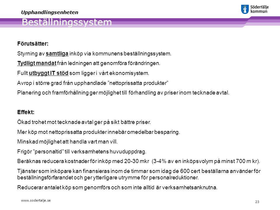 www.sodertalje.se 23 Upphandlingsenheten Beställningssystem Förutsätter: Styrning av samtliga inköp via kommunens beställningssystem. Tydligt mandat f