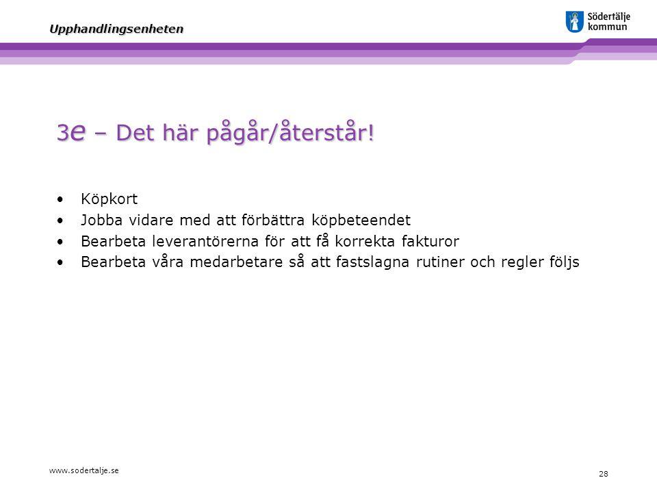www.sodertalje.se 28 Upphandlingsenheten 3 e – Det här pågår/återstår! Köpkort Jobba vidare med att förbättra köpbeteendet Bearbeta leverantörerna för