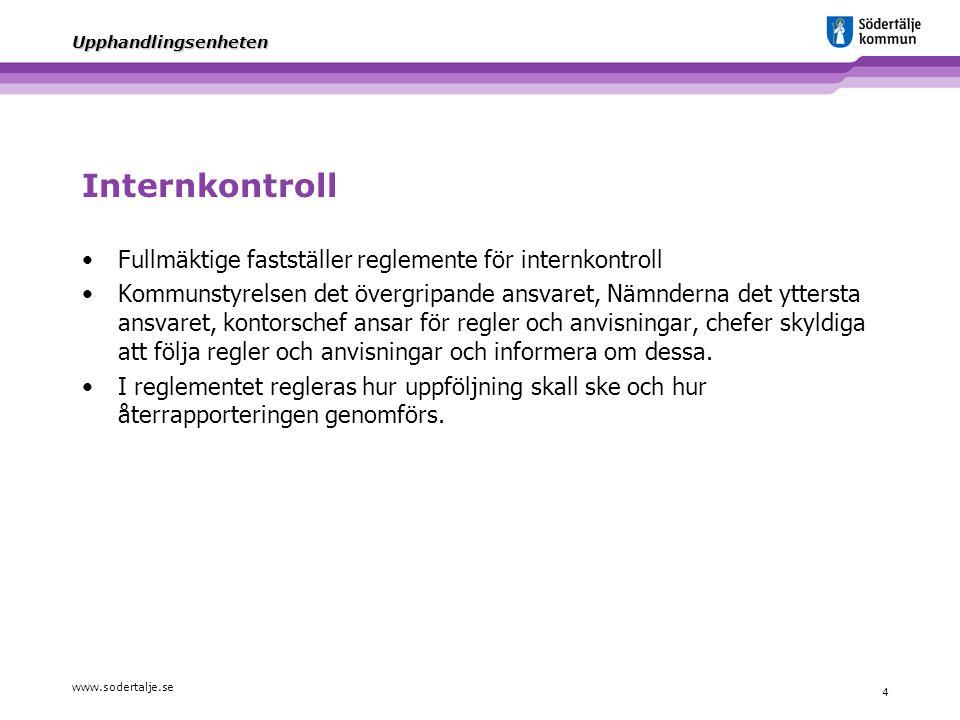 www.sodertalje.se 4 Upphandlingsenheten Internkontroll Fullmäktige fastställer reglemente för internkontroll Kommunstyrelsen det övergripande ansvaret