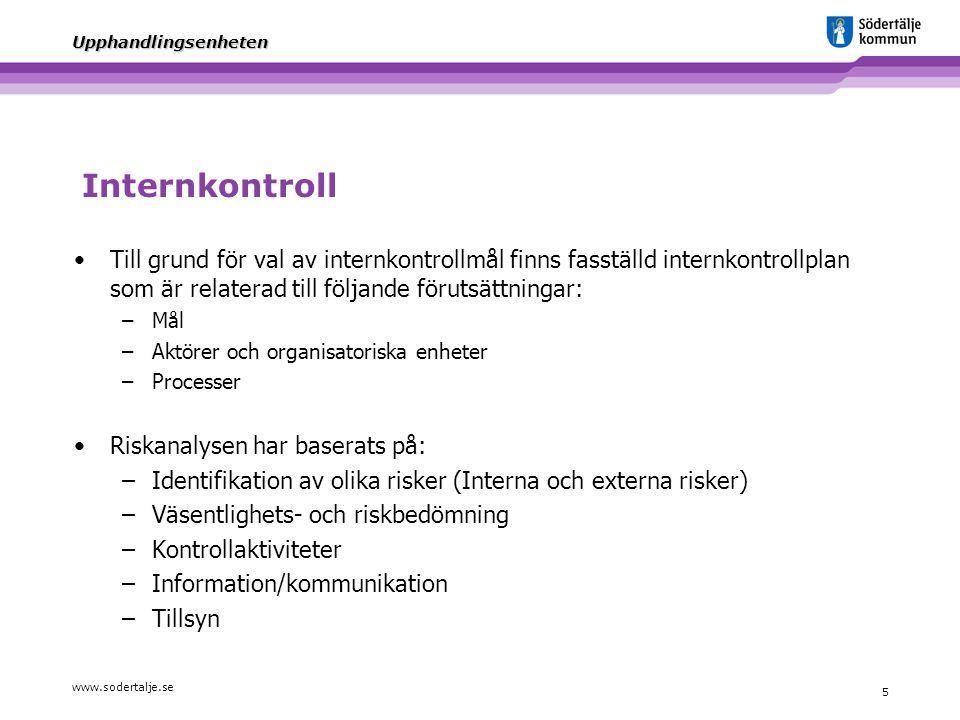 www.sodertalje.se 5 Upphandlingsenheten Internkontroll Till grund för val av internkontrollmål finns fasställd internkontrollplan som är relaterad til