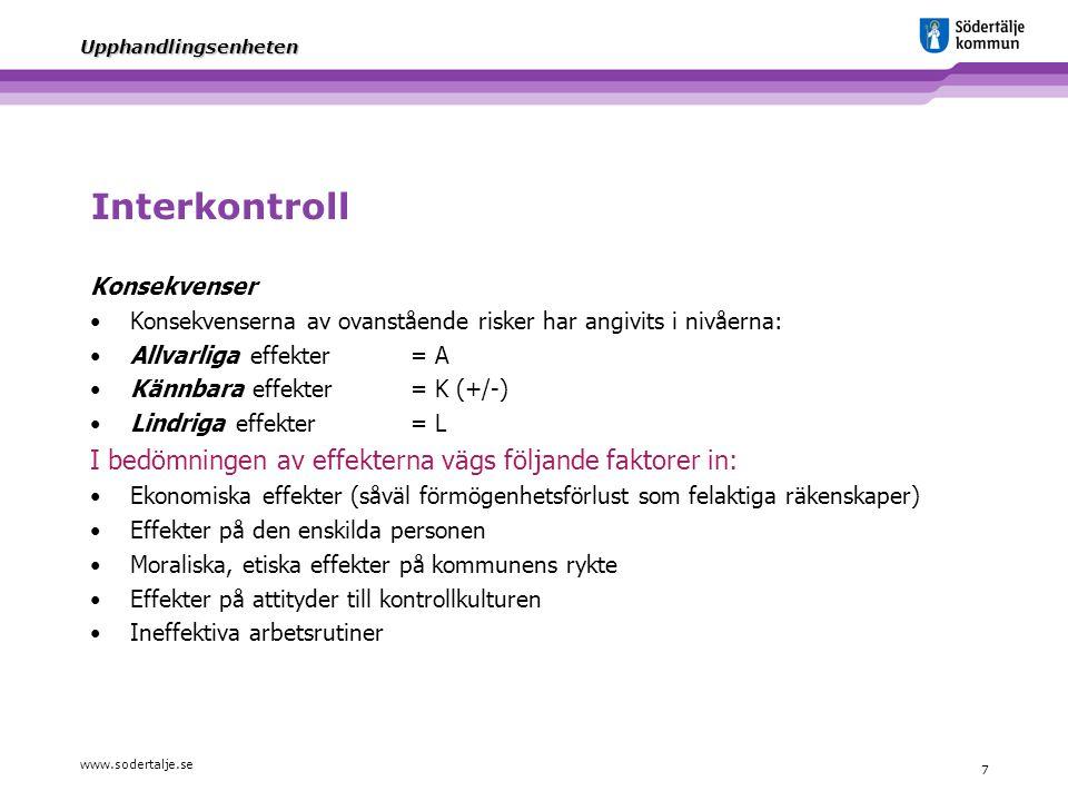 www.sodertalje.se 8 Upphandlingsenheten Interkontroll För varje år fastställs de kontrollmål som skall ingå i internkontrollplanen.