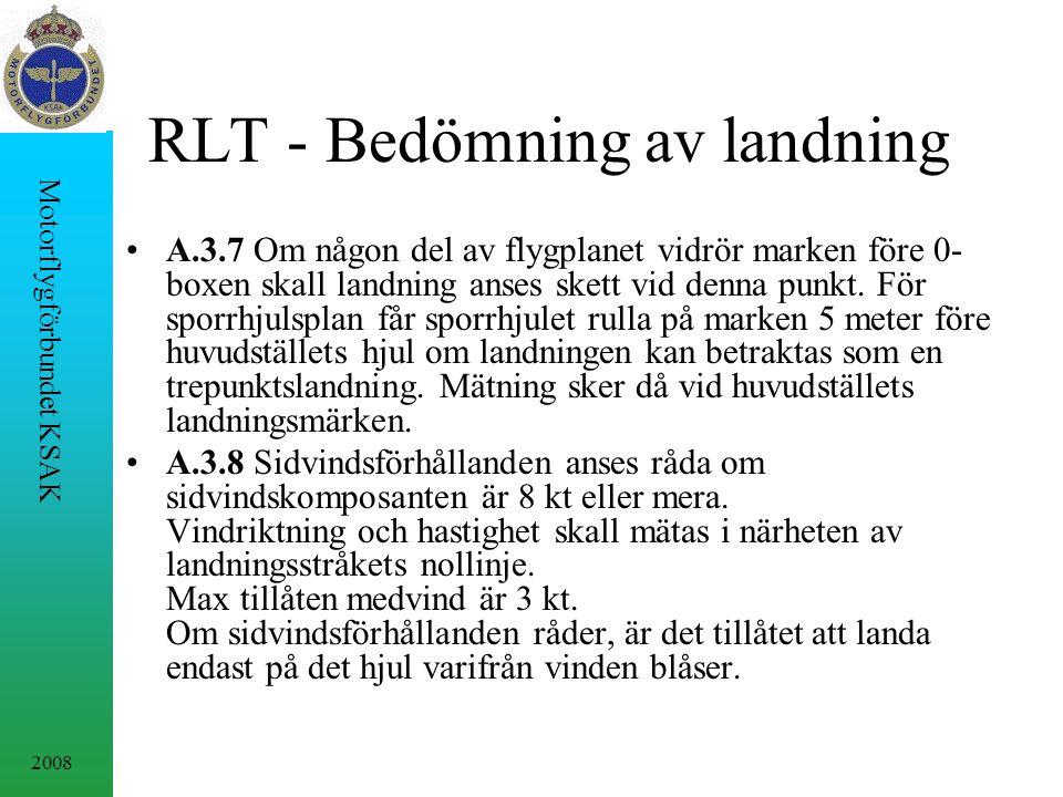 2008 Motorflygförbundet KSAK RLT - Bedömning av landning A.3.7 Om någon del av flygplanet vidrör marken före 0- boxen skall landning anses skett vid denna punkt.