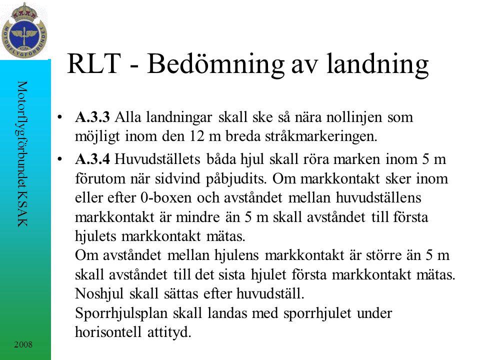 2008 Motorflygförbundet KSAK RLT - Bedömning av landning A.3.3 Alla landningar skall ske så nära nollinjen som möjligt inom den 12 m breda stråkmarkeringen.