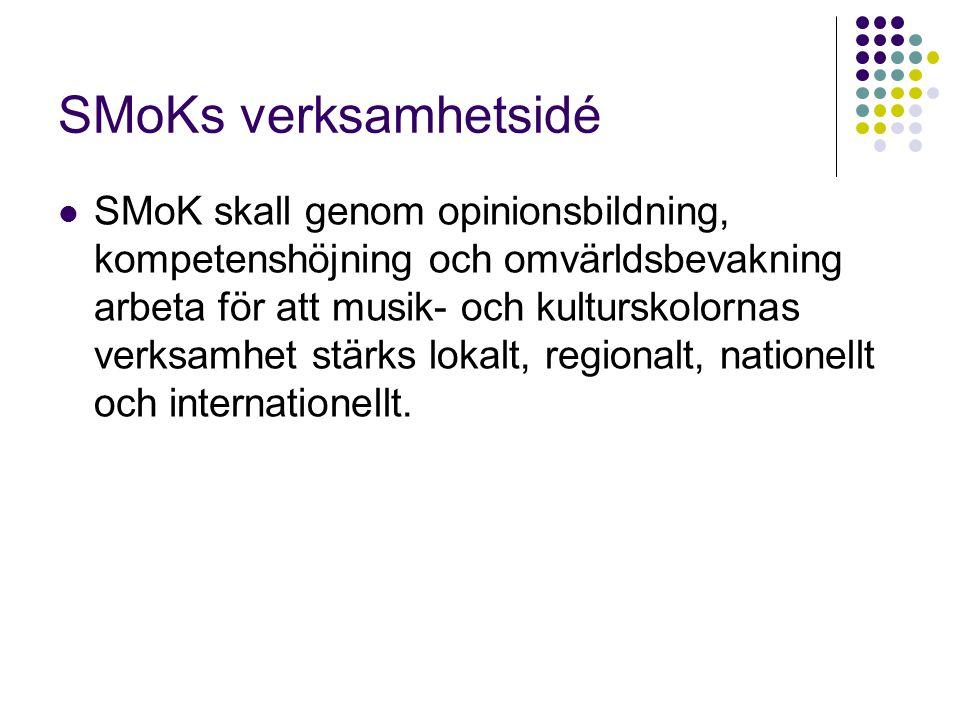 SMoKs verksamhetsidé SMoK skall genom opinionsbildning, kompetenshöjning och omvärldsbevakning arbeta för att musik- och kulturskolornas verksamhet st