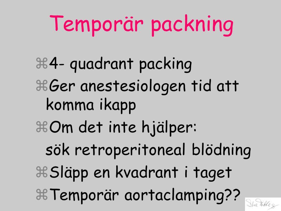 Temporär packning z4- quadrant packing zGer anestesiologen tid att komma ikapp zOm det inte hjälper: sök retroperitoneal blödning zSläpp en kvadrant i