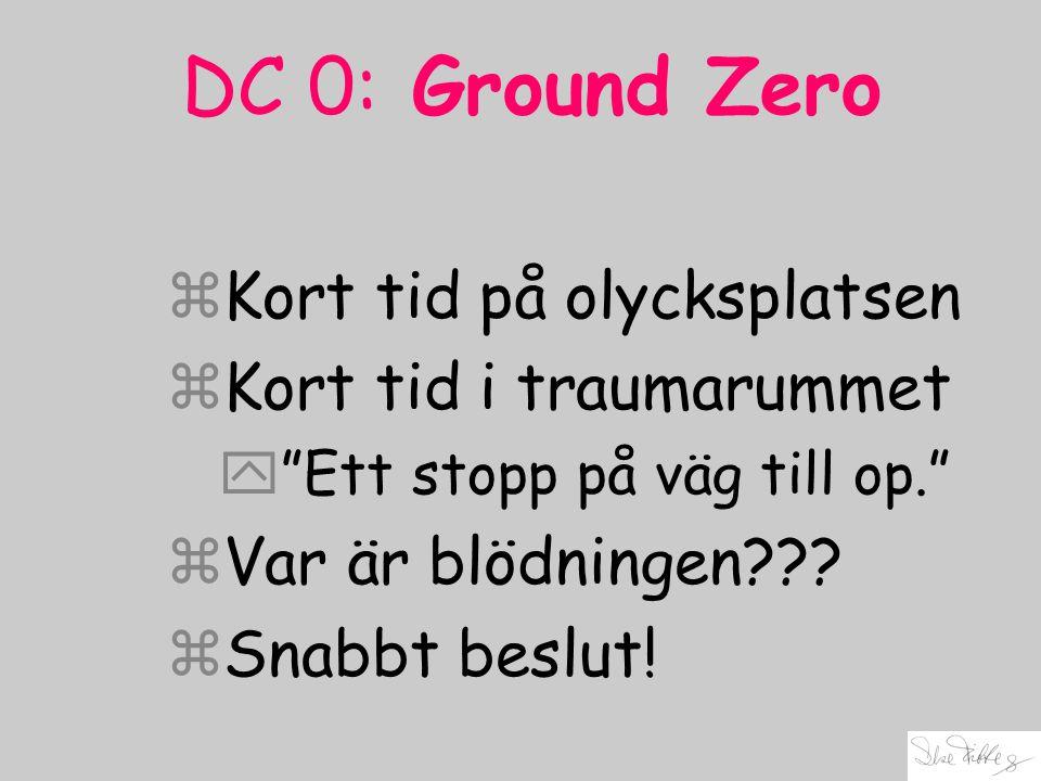 """DC 0: Ground Zero zKort tid på olycksplatsen zKort tid i traumarummet y""""Ett stopp på väg till op."""" zVar är blödningen??? zSnabbt beslut!"""