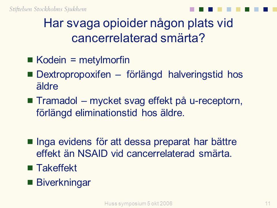 11Huss symposium 5 okt 2006 Har svaga opioider någon plats vid cancerrelaterad smärta?  Kodein = metylmorfin  Dextropropoxifen – förlängd halverings