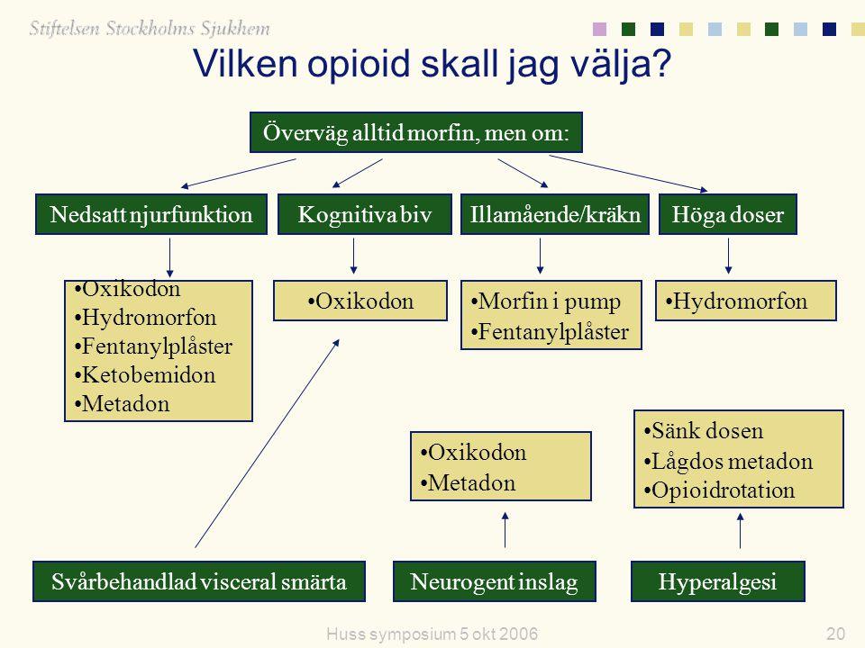 20Huss symposium 5 okt 2006 Överväg alltid morfin, men om: Nedsatt njurfunktionIllamående/kräknKognitiva bivHöga doser Oxikodon Hydromorfon Fentanylpl
