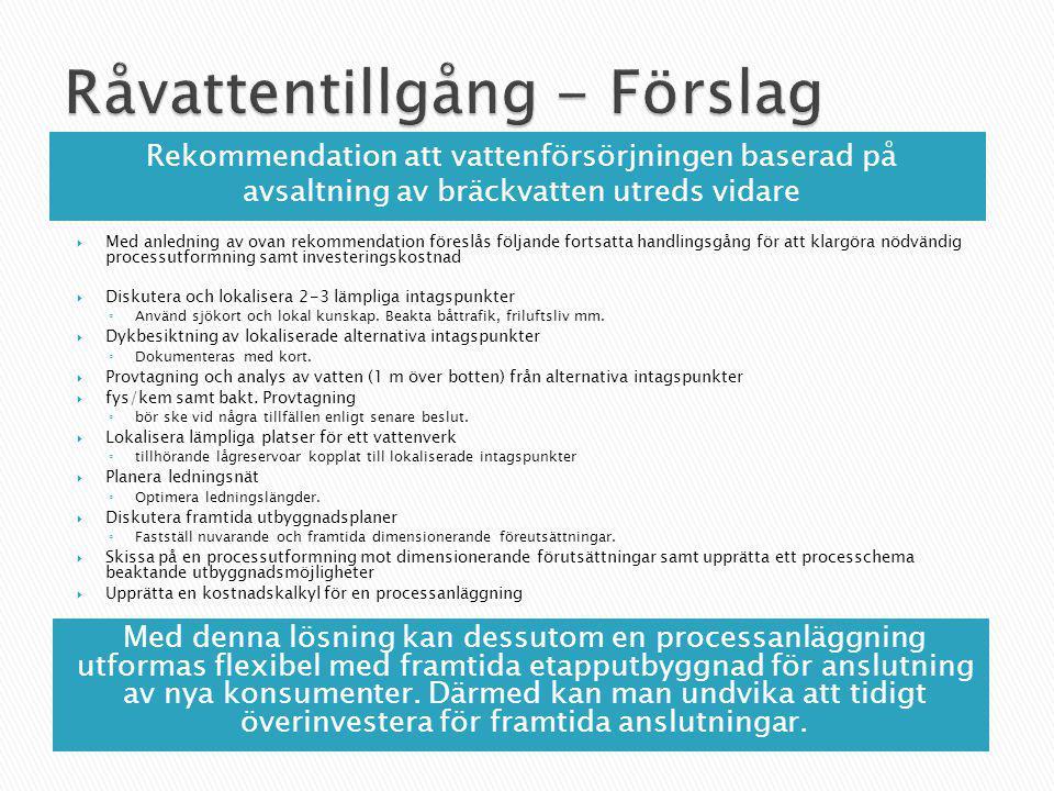 Rekommendation att vattenförsörjningen baserad på avsaltning av bräckvatten utreds vidare  Med anledning av ovan rekommendation föreslås följande for