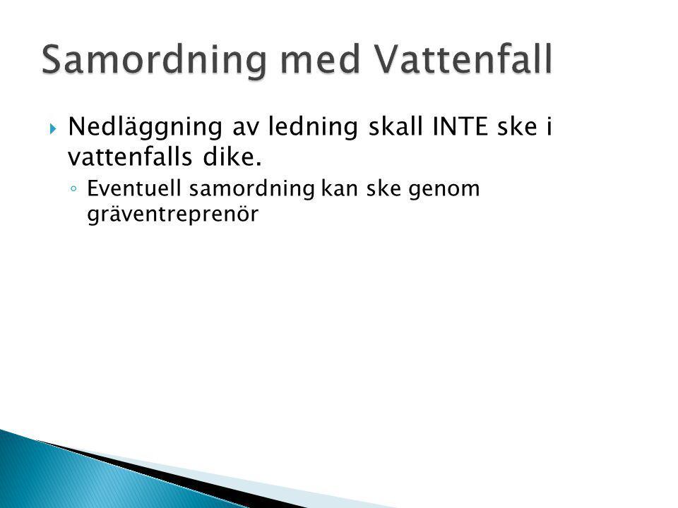  Nedläggning av ledning skall INTE ske i vattenfalls dike. ◦ Eventuell samordning kan ske genom gräventreprenör