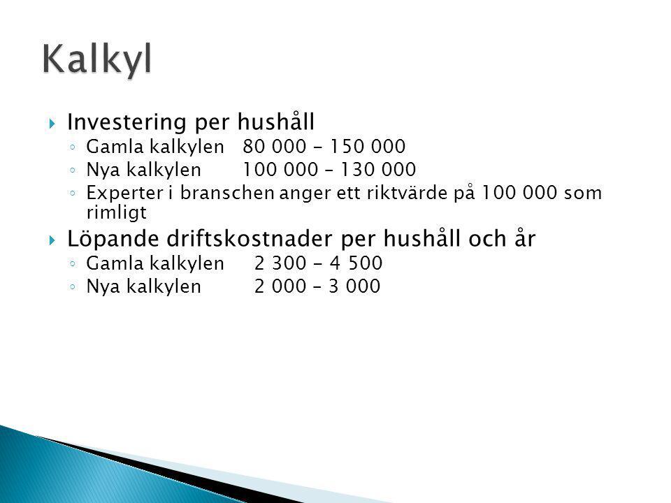  Investering per hushåll ◦ Gamla kalkylen 80 000 - 150 000 ◦ Nya kalkylen 100 000 – 130 000 ◦ Experter i branschen anger ett riktvärde på 100 000 som