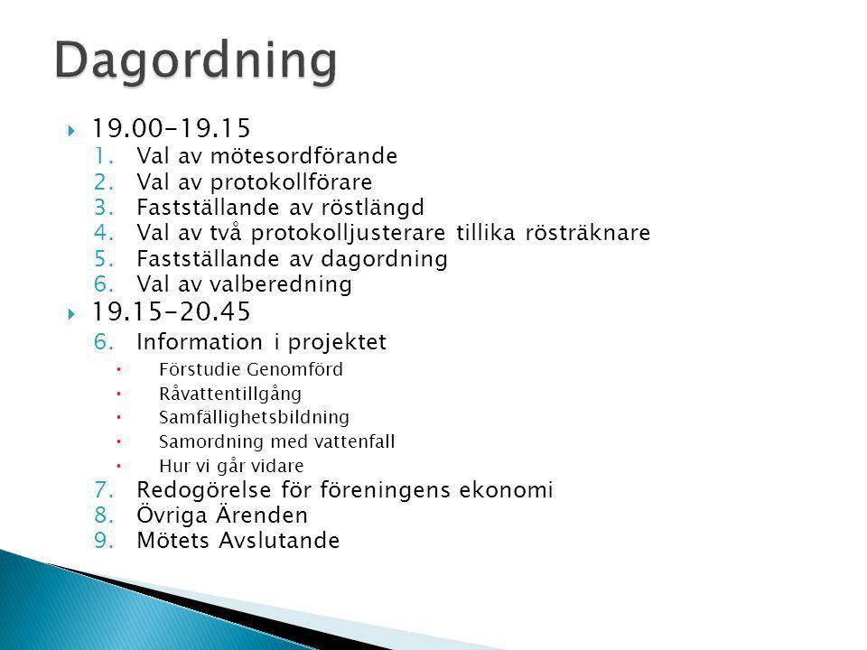  19.00-19.15 1.Val av mötesordförande 2.Val av protokollförare 3.Fastställande av röstlängd 4.Val av två protokolljusterare tillika rösträknare 5.Fas