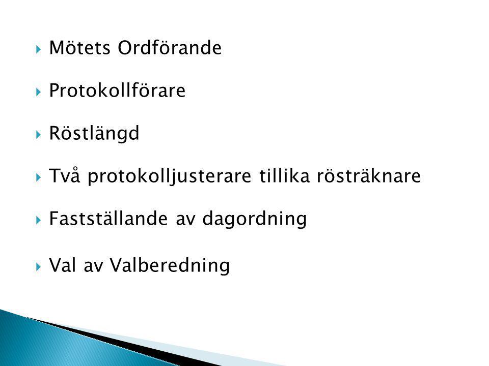  Mötets Ordförande  Protokollförare  Röstlängd  Två protokolljusterare tillika rösträknare  Fastställande av dagordning  Val av Valberedning