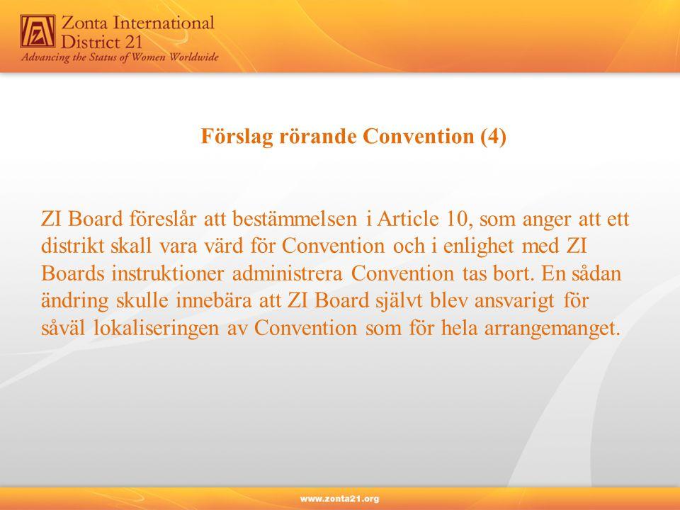 Förslag rörande Convention (4) ZI Board föreslår att bestämmelsen i Article 10, som anger att ett distrikt skall vara värd för Convention och i enlighet med ZI Boards instruktioner administrera Convention tas bort.