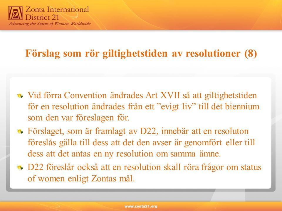 Förslag som rör giltighetstiden av resolutioner (8) Vid förra Convention ändrades Art XVII så att giltighetstiden för en resolution ändrades från ett evigt liv till det biennium som den var föreslagen för.