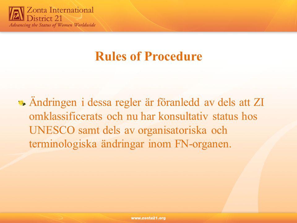 Rules of Procedure Ändringen i dessa regler är föranledd av dels att ZI omklassificerats och nu har konsultativ status hos UNESCO samt dels av organisatoriska och terminologiska ändringar inom FN-organen.