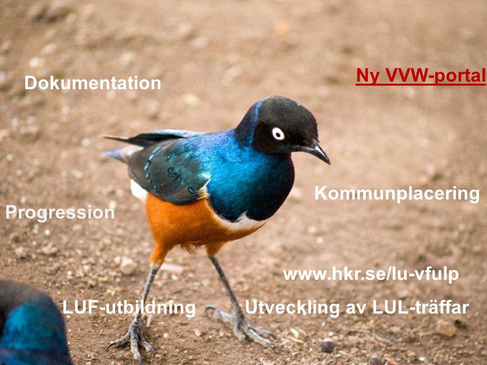 Kommunplacering Ny VVW-portal Dokumentation Progression LUF-utbildningUtveckling av LUL-träffar www.hkr.se/lu-vfulp