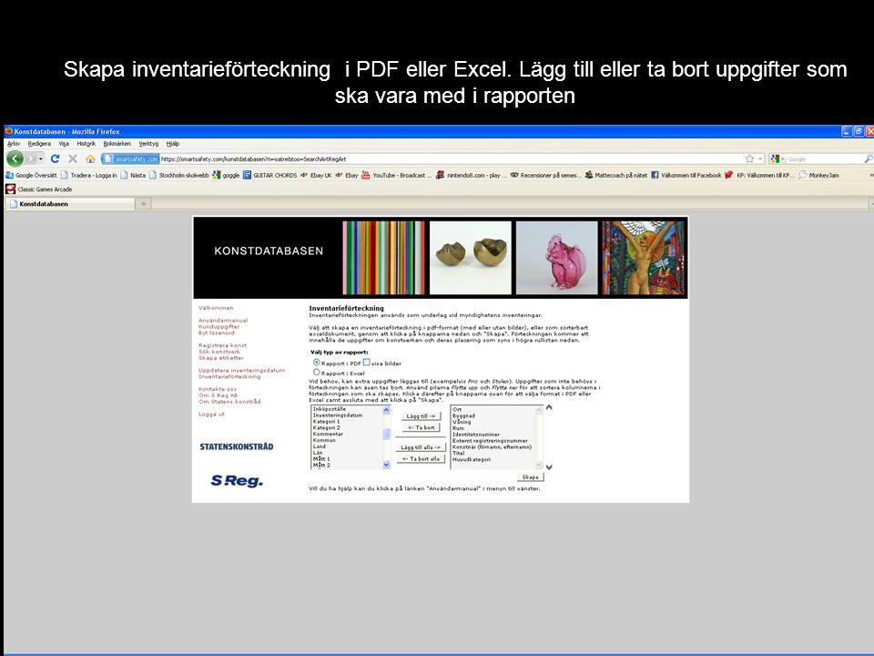 Inventarieförteckning i PDF-format sorterad efter ort, byggnad, våning och rum