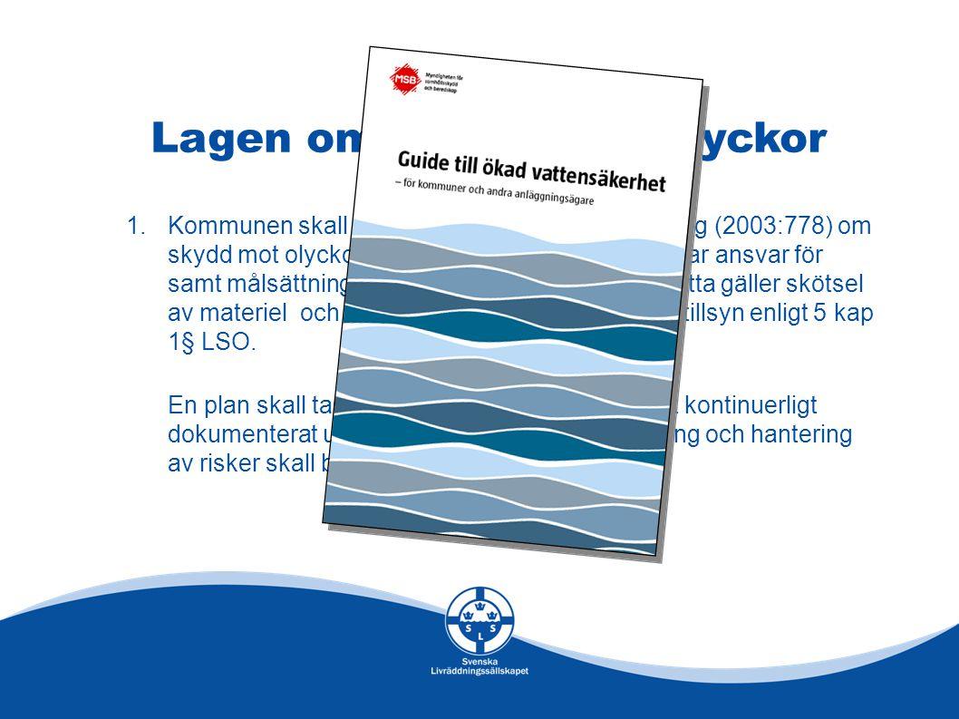 Lagen om Skydd mot Olyckor 1.Kommunen skall i sitt handlingsprogram enligt Lag (2003:778) om skydd mot olyckor (LSO) tydligt ange vem som har ansvar för samt målsättning med vattensäkerhetsfrågor.