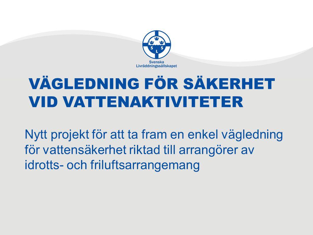 VÄGLEDNING FÖR SÄKERHET VID VATTENAKTIVITETER Nytt projekt för att ta fram en enkel vägledning för vattensäkerhet riktad till arrangörer av idrotts- och friluftsarrangemang