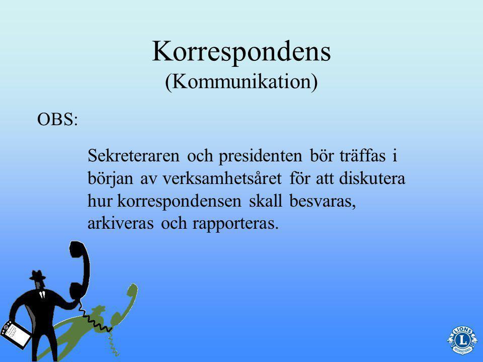 Korrespondens (Kommunikation) Då sekreteraren svarar för all korrespondens är effektiv kommunikation av vital betydelse.