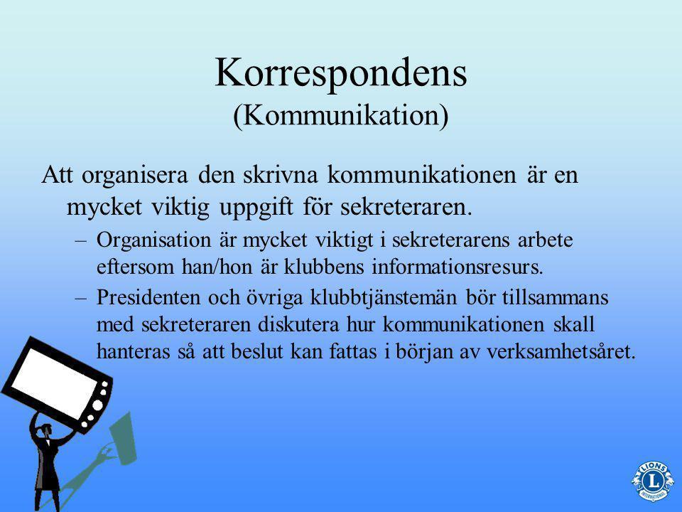 Korrespondens (Kommunikation) På rätt sätt – all kommunikation från klubben måste vara professionell med korrekt språkbruk.
