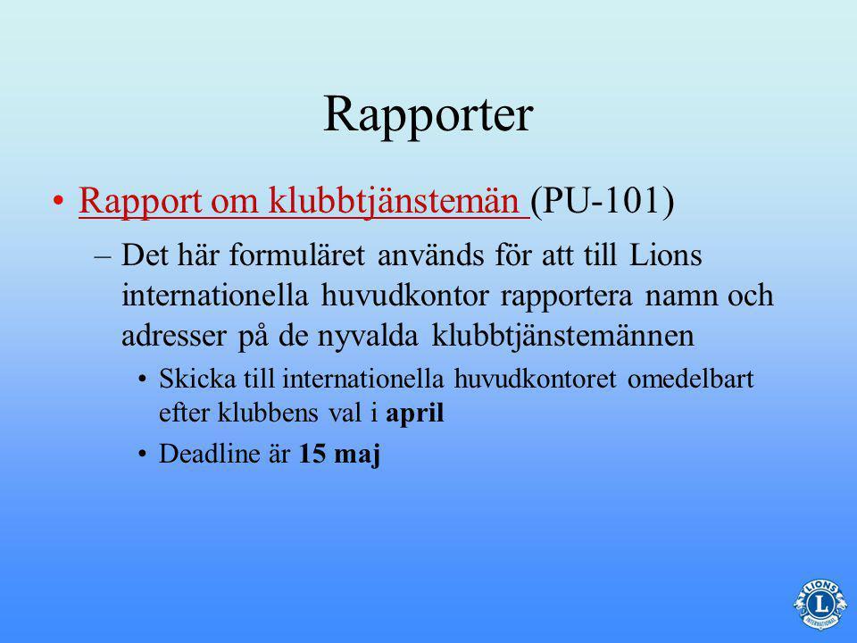Rapportering via LCI:s webbplats –Gå in på LCI:s hemsida och välj Skicka rapporter som står i det övre högra hörnet.