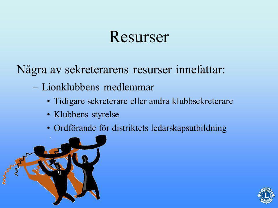 Resurser Under året har sekreteraren säkert frågor eller känner att han/hon behöver vägledning för att effektivt kunna utföra sitt arbete.