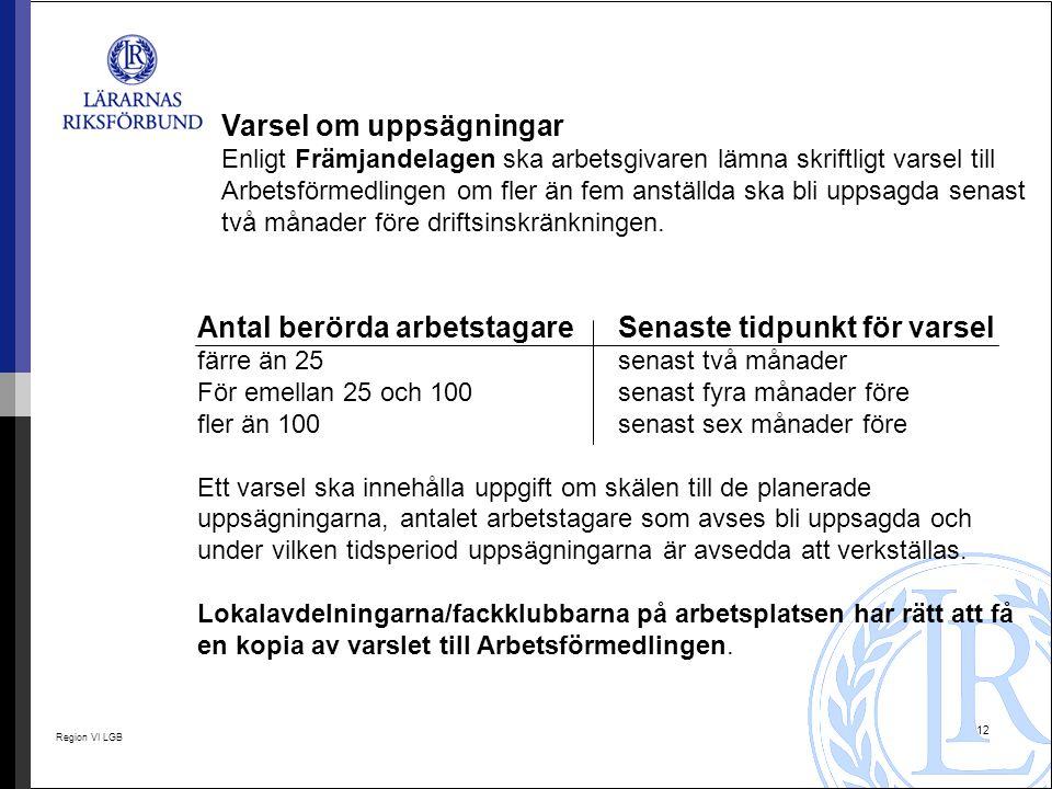 Region VI LGB 12 Varsel om uppsägningar Enligt Främjandelagen ska arbetsgivaren lämna skriftligt varsel till Arbetsförmedlingen om fler än fem anställ